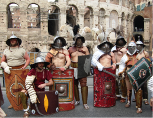 Gladiators posing before the Colosseum, Birthday of Rome 2015 (photo by Valentino Mattei)