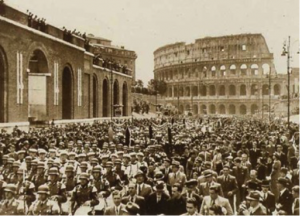 Parade along Via dell'Impero during Hitler's visit to Rome (1938).