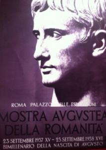 """Poster of the """"Mostra Augustea della Romanità"""" at the Palazzo delle Esposizioni, Roma, 1937"""