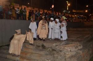 Prise de parole rituelle de membres de personnalités religieuses lors d'un hommage à Abdias de Nascimento (14 mars 2014)
